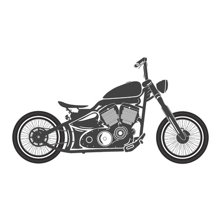 Old vintage motorcycle. retro bobber motorbike. vector illustration Иллюстрация
