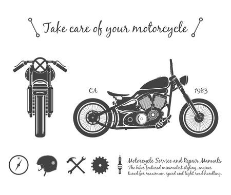oldschool: Vintage motorcycle infographic. old-school bike theme.