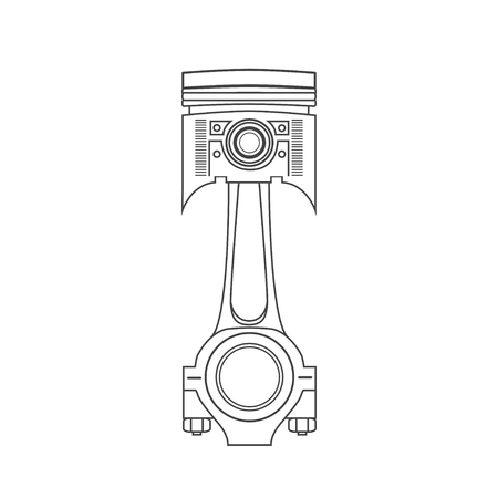 fuel rod: Iron car piston in a drawing style.