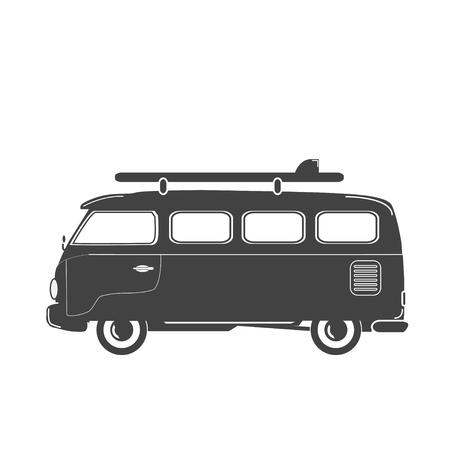 malibu: Summer retro illustration. Retro retro-bus with surf board. Illustration