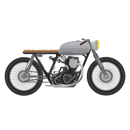 racer: Vintage motorcycle, metallic color. cafe racer theme Illustration