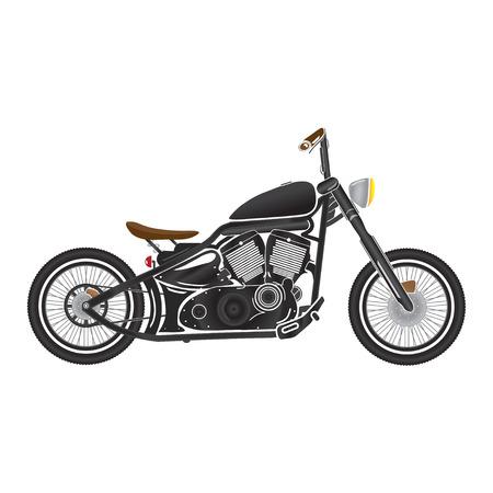 bobber: Old vintage black bobber bike. cafe racer theme.
