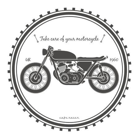 Old vintage motorcycle logo. cafe racer theme.  イラスト・ベクター素材
