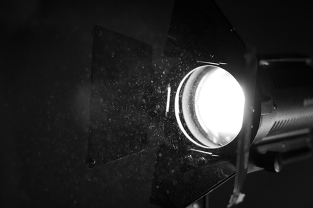 Working movie light. Lighting & Studio close-up Stock Photo