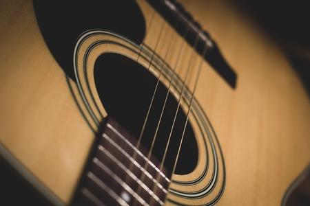 vintage acoustic guitar. close-up. classic wood Zdjęcie Seryjne