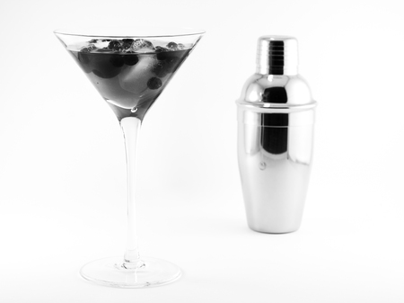cocktail with shaker on a white background. close-up