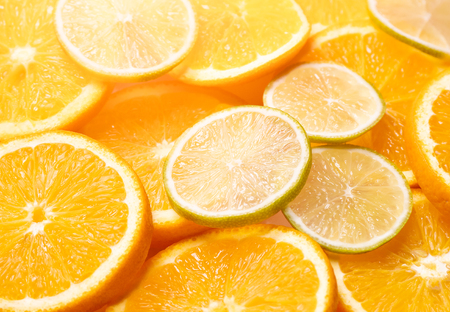 slices of citrus fruits. close-up