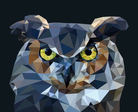 Owl in low poly style. vector illustration. Ilustracja
