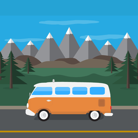 travel van in the mountains. flat style. Vector illustration