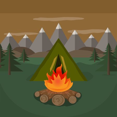 tent camp near the mountains. vector illustration