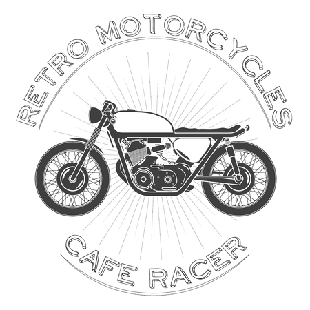 white caferacer, vintage motorcycle.
