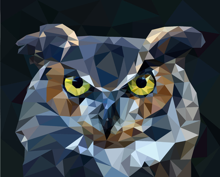 Owl low poly style. vector illustration. Ilustracja