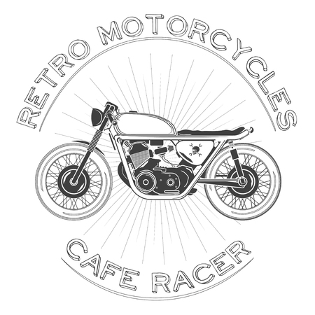 white caferacer . Retro motorcycle. vector illustration. cafe racer theme.
