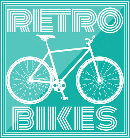 retro poster with bicycle in pink tone. vector illustration
