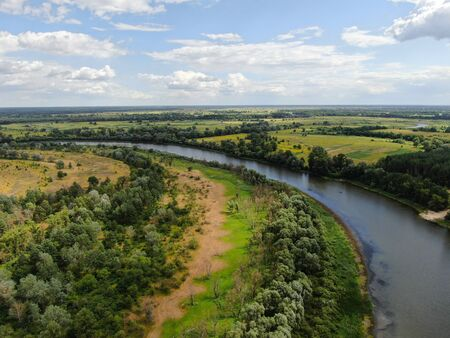 Desna River with forest. Aerial view