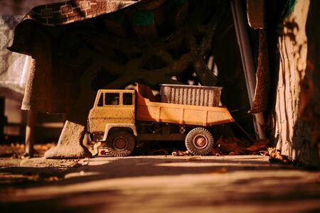 Old soviet toy car in dark