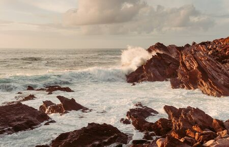 coastal cliffs by the ocean with waves. sunset 写真素材