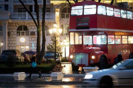 London night street. traffic. night city light