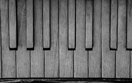 old, vintage piano. macro plan. close up. black and white.