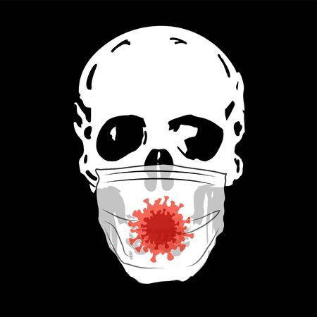 skull with a medical mask on a black background.