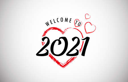 Welcome to 2021 in Beautiful Red Hearts, Happy New Year 2021 Welcome Celebrate and Greeting Theme Vector Illustration Vettoriali