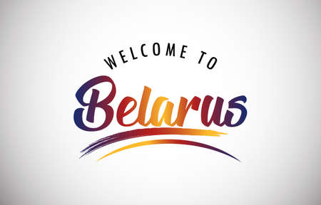 Belarus Welcome To Message in Beautiful Colored Modern Gradients Vector Illustration.