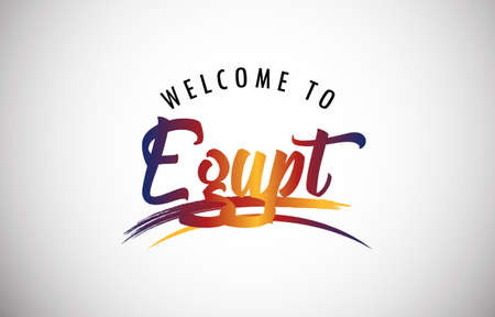 Egypt Welcome To Message in Beautiful Colored Modern Gradients Vector Illustration.