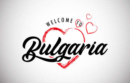Bulgaria Welcome To Message with Handwritten Font in Beautiful Red Hearts Vector Illustration. Vektorové ilustrace