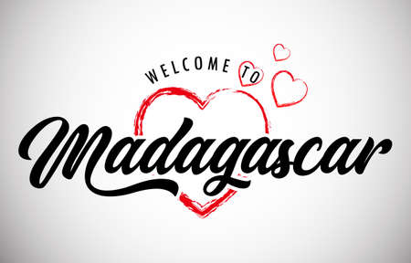 Madagascar Welcome To Message with Handwritten Font in Beautiful Red Hearts Vector Illustration. Ilustração Vetorial