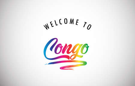 Congo Welcome To Message in Beautiful and HandWritten Vibrant Modern Gradients Vector Illustration.