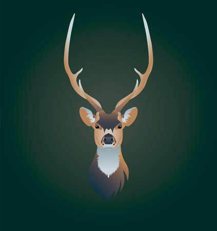 Deer head on green background, vector illustration. Suitable for refrigerator sticker, poster or postcard, social networks and t-shirt.