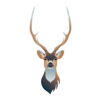 Deer head on white background, vector illustration. Suitable for refrigerator sticker, poster or postcard, social networks and t-shirt.