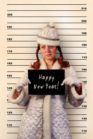detained: A snow maiden was detained in police-station Stock Photo