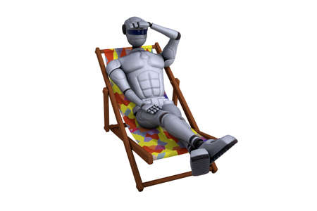 holidaymaker: 3D illustration robot of holiday-maker in a deck-chair