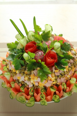 laurence: Lettuce of Olivier is flowered executed from vegetables Stock Photo