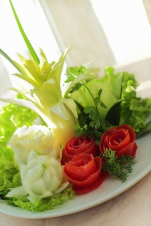 executed: Nosegay is executed from different vegetables Stock Photo