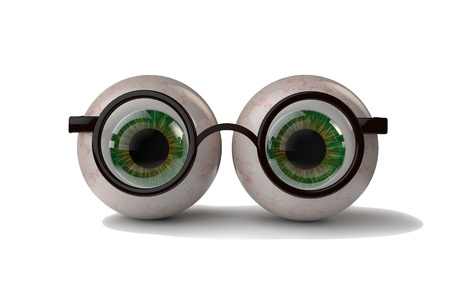 sg: 3d illustration two eyes with glasses Stock Photo