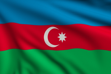 azerbaijanian: 3d illustration flag of Azerbaijan