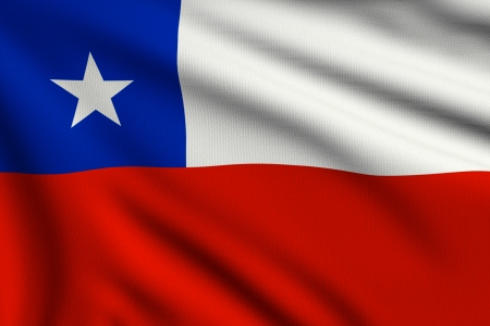 3d illustration flag of Chile