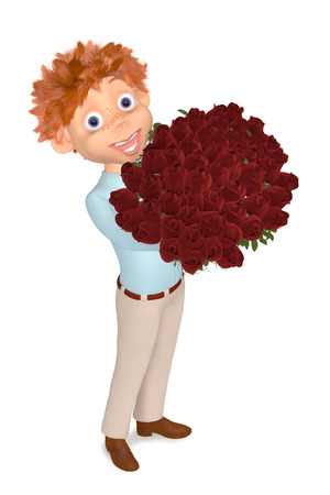 3d illustration boy with the bouquet of roses to the Valentine