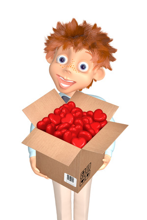3d illustration boy with the box of candies to the Valentine