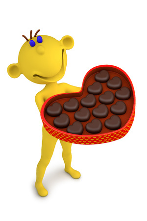 3d illustration yellow man with the box of chocolate candies illustration