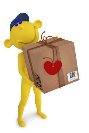 3d illustration boy postman with the box to the Valentine Stock Photo
