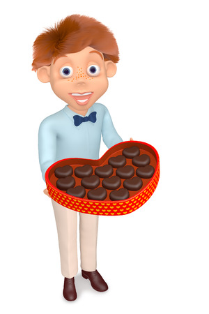 3d illustration boy with the box of chocolate candies illustration