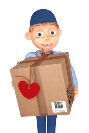 3d illustration postman with a postal parcel