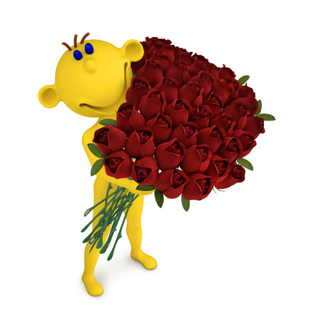 3d illustration yellow man with the bouquet of roses to the Valentine