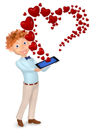 3d illustration boy received message as a heart by phone Stock Illustration - 25889018