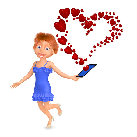 received: 3d illustration girl received message as a heart by phone