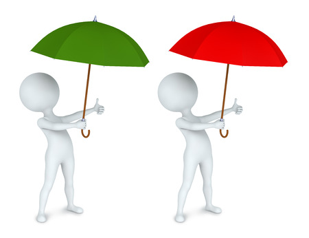 3D illustration of small man with an umbrella  Two variants