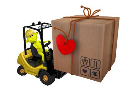 loads: 3d illustration yellow little man loads a parcel on a loader Stock Photo